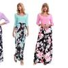 Women Fashion 3/4 Sleeve Floral Printing Maxis Dress