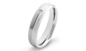 Men's Titanium Diamond Accent Dual Finish Grooved Comfort Fit Ring
