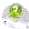 Sterling Silver 4.0ct Peridot & White Topaz Halo Ring