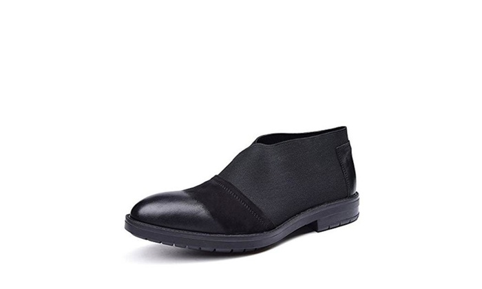 Zorgen Men's Casual Shoes Genuine Leather And Elastic Band Slip On