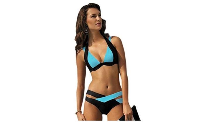 Color Block Push up Swimwear