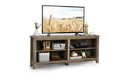 Costway 58'' Corner TV Stand 4 Cubby Entertainment Media Console w/ 2 Shelves