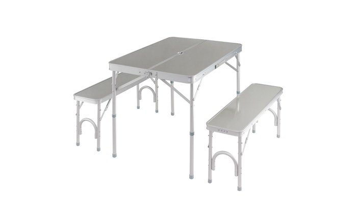 Portable Folding Camping Picnic Table w// 4 Seats Aluminum Suitcase Outdoor