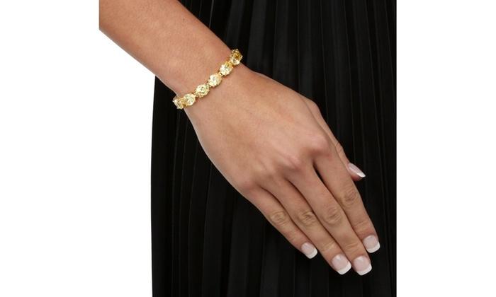 38 10 Tcw Cz 14k Gold Plated Tennis Bracelet Groupon