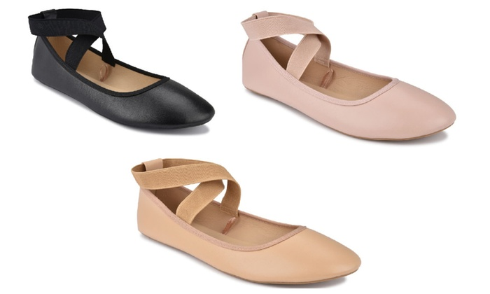 P26 Women's Ballerina Ballet Flats Shoes with Elastic Ankle Straps