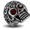 Stainless Steel Men's Red Cubic Zirconia Eyes Skull Ring