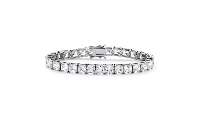 27.84 TCW Princess-Cut Cubic Zirconia Tennis Bracelet Platinum-Plated
