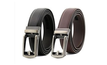 "Men's Comfort Click Belt Leather With Steel Brown And Black 28""-48"""
