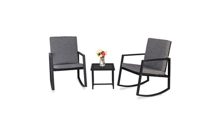 3 PCS Outdoor Patio Rocking Furniture Chairs Set with Glass Coffee Table