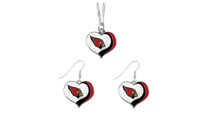 NFL Sports Team Glitter Heart Necklace and Earring Set Charm Gift