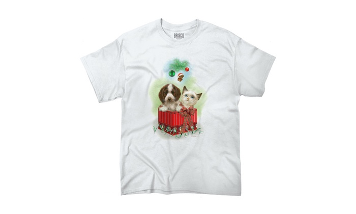Puppy and Kitten Christmas Gift Under Tree T-Shirt