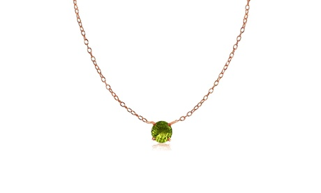 Rose Gold Flashed Sterling Silver Small Dainty Round Peridot Choker Necklace 3468125f-95b4-46fb-8951-bd66c2b7805d