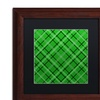 Jennifer Nilsson 'Green Diamond Plaid 1' Matted Wood Framed Art
