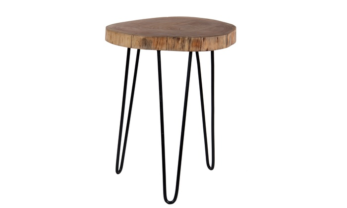 Enjoyable Intradeglobal Acacia Wood Live Edge Stool Accent Side Table Caraccident5 Cool Chair Designs And Ideas Caraccident5Info