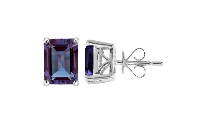 8ed84ac47 Sterling Silver with Color Changing Alexandrite Emerald Cut Stud Earring