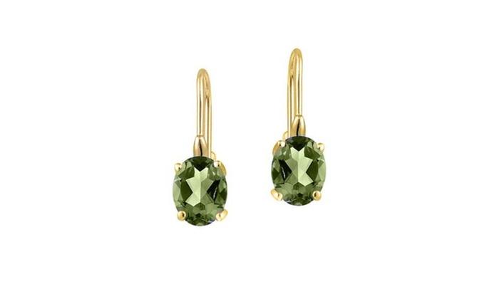 2 00 Cttw Genuine Peridot Leverback Earrings In 18k Yellow Gold