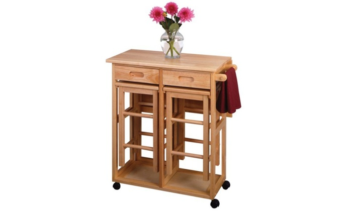 Winsome Space Saver, Drop Leaf Table With 2 Stools ...