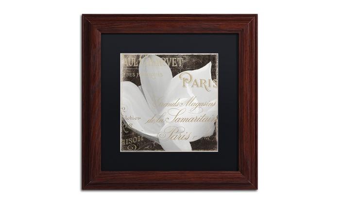 Groupon Goods: Color Bakery 'Fleurs Blanc II' Matted Wood Framed Art