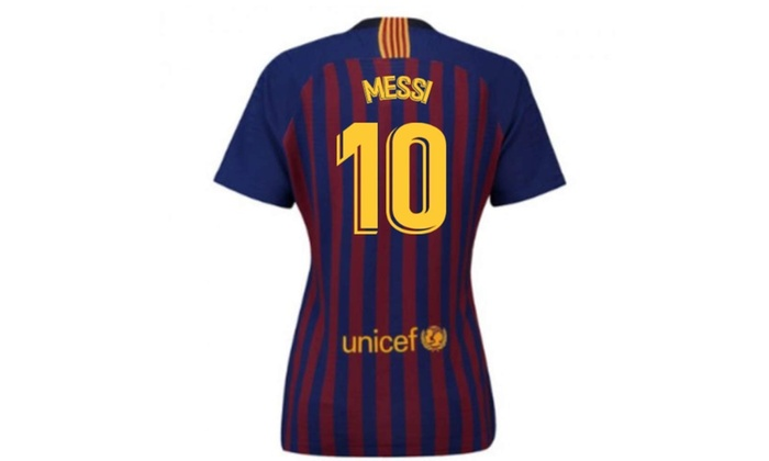 wholesale dealer fd16e 321a0 2018-2019 Barcelona Home Ladies Football Soccer T-Shirt Jersey (Lionel  Messi 10)