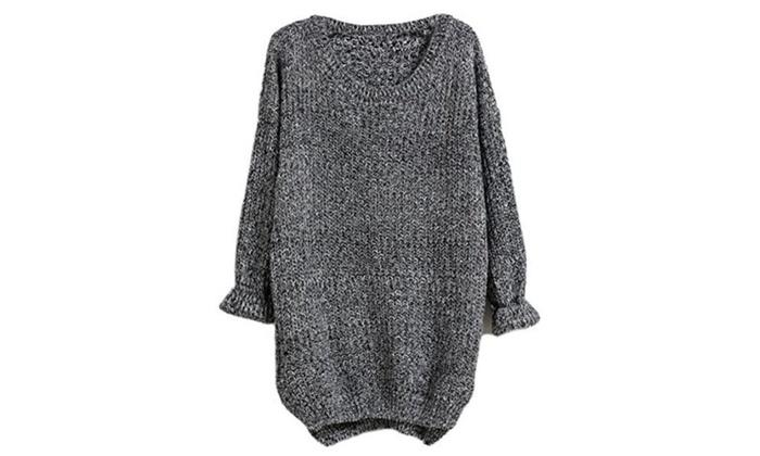 Wenxuan Women's Petite Plain Long Sleeve Dipped Hem Casual Sweater