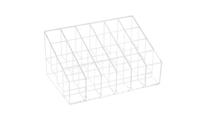 24 Trapezoid Lipstick Makeup Cosmetic Holder Case Display Stand Clear