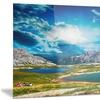 Sunset over Alpine Lakes Landscape Photo Metal Wall Art 28x12