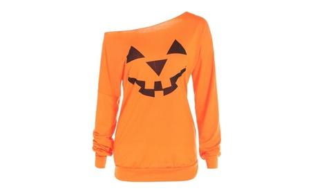 Women Slouchy Shirts Halloween Pumpkin Long Sleeve Sweatshirts