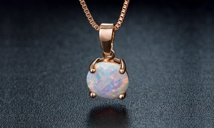 Minimalist Round-Cut White Fire Opal Necklace By Peermont