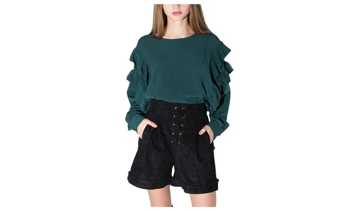 Women's Pullover Straight Hem Solid Simple Blouse