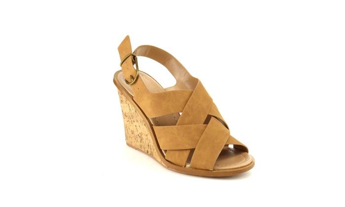 Beston IA75 Women's Criss Cross Ankle Strap Sling Back Wedge Sandals