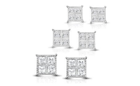1/4, 1/2 or 1 Cttw Princess Cut Diamond Stud Earring in Silver 34b906fb-7c3c-4b32-844b-b04d0fe40f1a