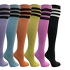 Yacht&Smith Over the Knee Socks, 12 Pairs, Cotton Chic Assorted Stripe
