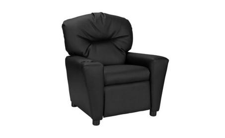 Furniture Kids' Recliner with Cup Holder, Black b60f6af1-e580-4d02-ae62-ddb6cbb10d0f
