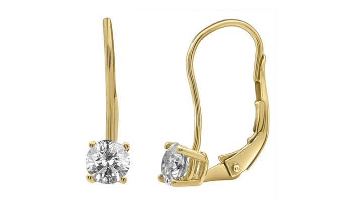 0 50 Cttw Diamond Leverback Stud Earring In 14k Yellow Gold Levstudrd50y H I Round I1 I2 1 2 Ct Good Cut No