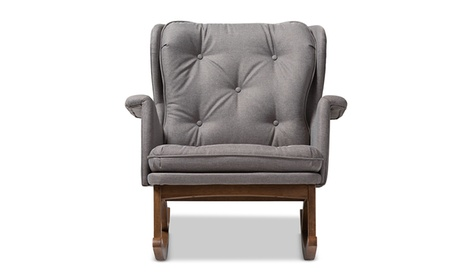 Maggie Grey Fabric Upholstered Walnut-Rocking Chair