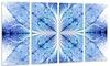 Symmetrical Light Blue Pattern Floral Art Metal Wall Art 48x28 4 Panel