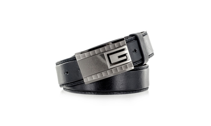 "Faddism Men's Genuine Leather Belt ""G"" Emblem"