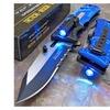 Tac-Force Blue Police Assisted Open LED Tactical Rescue Pocket Knife