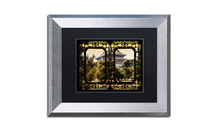 Groupon Goods: Philippe Hugonnard 'Garden View' Matted Silver Framed Art