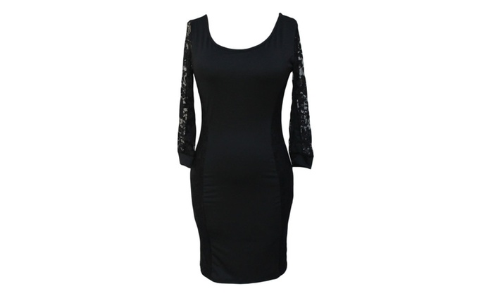 Women's Sexy Party 3/4 Lace Vintage Dress in Whole Black