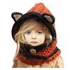 Winter Kids Warm Fox Animal Hats Knitted Coif Hood Scarf Beanies