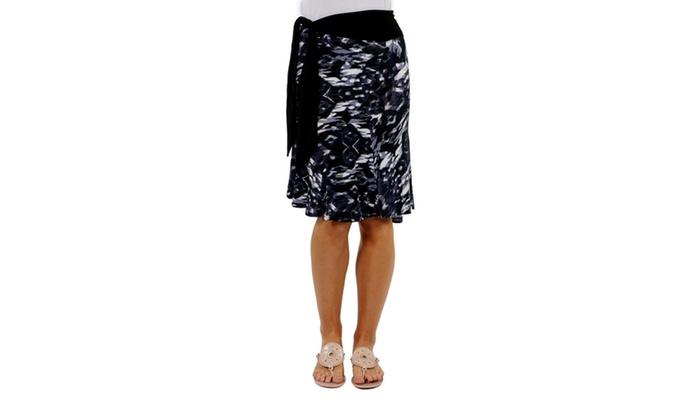 24/7 Comfort Apparel Bel Jardin Faux Wrap Skirt
