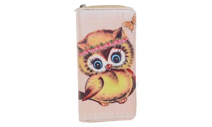 Owls Owls Owls! Colorful Cute Bi-Fold Vegan Leather Wallet