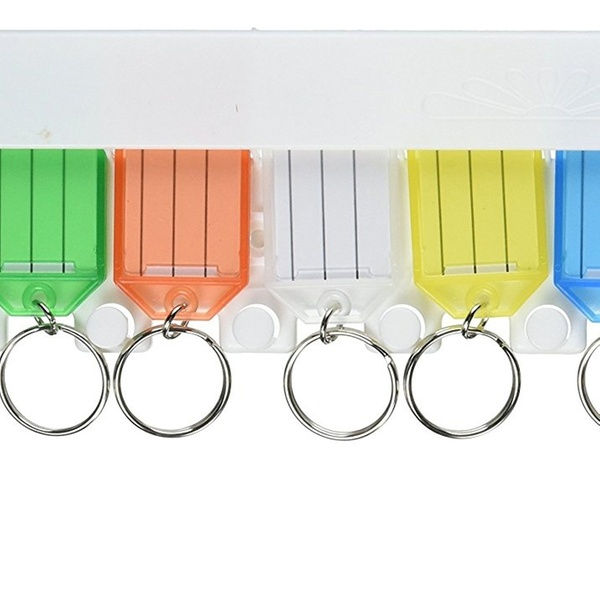 Hy-Ko KC143-8 Key Tag Rack with 8 Easy Open Assorted Color Key Tags
