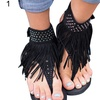 Fringe Faux Leather Thong Sandals