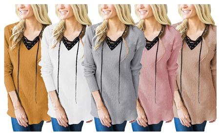 Womens Fashion Long-sleeved V-neck Sweater T Shirt Tops edba7329-645a-4013-9322-7b442a4c6208