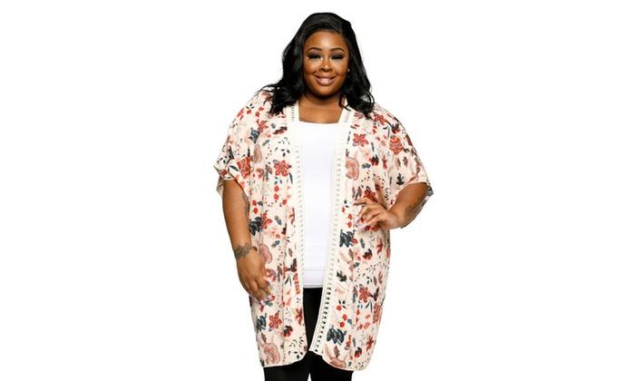 57350702f7f Xehar Womens Plus Size Casual Open Front Floral Kimono Cardigan ...