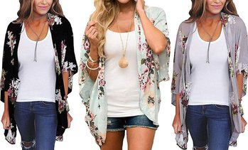 Women's Sheer Chiffon Blouse Loose Tops Kimono Floral Print Cardigan