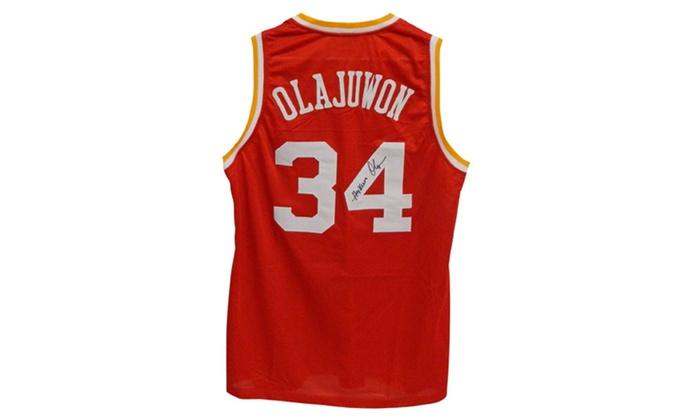 premium selection ceb64 dcd90 Autographed Hakeem Olajuwon Houston Rockets Custom Jersey