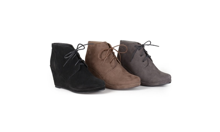 9212d11a639c1e Journee Collection Womens Faux Suede Wedge Booties | Groupon